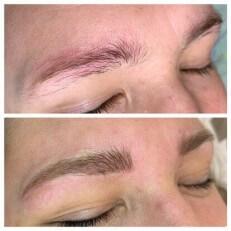 Cosmetic Tattooing Microbladed Eyebrow on Alia gappy eyebrows by Rachael Bebe